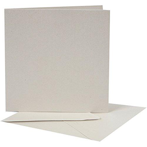 Creativ Company Art-Manufacture-Design, Biglietto con Busta, Carta Effetto Perlato, 12,5 x 12,5 cm, 10 pz, Colore: Crema