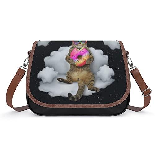 delayer Bolsa De Hombro Gato Unicornio En Gafas De Sol Con Donut Bolsa De Messenger Satchel Bolsas Para Mujer