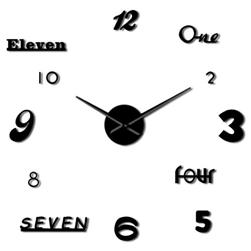 yage DIY Reloj Gigante Reloj Relojes de Pared Horloge 3D DIY Acrílico Espejo Pegatinas Decoración del hogar Sala de Estar Cuarzo Aguja Grande Manos