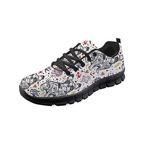 HUGS IDEA Animal Dogs Impreso Mujeres Zapatillas Tenis Caminar Fitness Entrenamiento Atlético Correr Carreras Moda Casual Zapatos, color Blanco, talla 39 EU