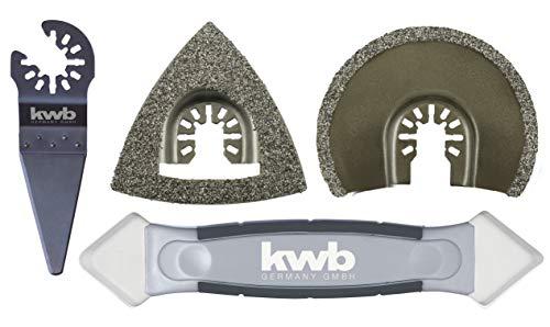 kwb by Einhell 4-tlg. Multi-Tool-Set für Fliesen Multifunktionswerkzeug-Zubehör (passend für alle Einhell Multifunktionswerkzeuge, HM-Raspel, HM-Segmentsägeblatt, Schaber)
