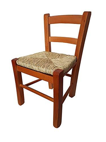 Chaise bébé en bois avec assise en paille, chaise pour enfant (cerisier)