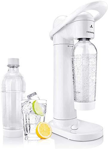 Freihafen Wassersprudler Moderner Weißer Sprudelwasser Set ohne co2-zylinder mit 2 X 1L PET-Sprudelflasche BPA-Frei Trinkwassersprudler Sodabereiter für Leitungswasser Kohlensäure