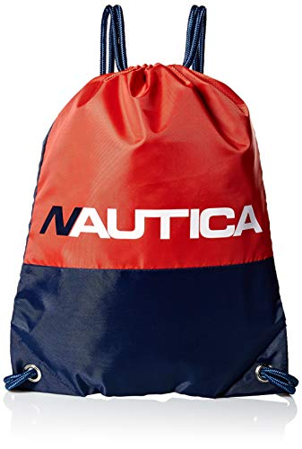 Nautica Kids' Little Drawstring Backpack Cinch Bag, red/Blue, One Size