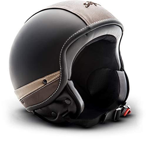 "SOXON® SP-301 Urban ""Black"" · Jet-Helm · Motorrad-Helm Roller-Helm Scooter-Helm Moped Mofa-Helm Chopper Retro Vespa Vintage Pilot Biker · ECE 22.05 Leather-Design Schnellverschluss Tasche L (59-60cm)"