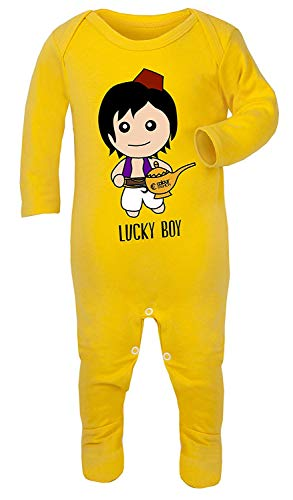 Pyjama Aladdin Lucky Boy Print Costume 100% Coton Hypoallergénique - Jaune - 6-12 Mois