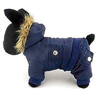 Shefure フード付きジャンプスーツ防水犬服パイロットウールの冬のコートの雪プルーフ服アウトドア犬猫毛皮のコートジャケット 犬のコスチューム (Color : Blue, Size : M)