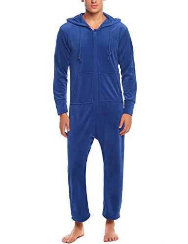 MAXMODA Herren Jumpsuit Thermowäsche aus Fleece Onesie Overall Thermowäsche Erwachsene Einfarbig Weiß XL