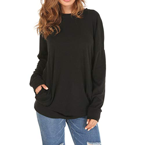 Womens T Shirt Tops Long Sleeve Solid Color Sweater Fashion Loose Crew Neck Blouse Ladies Sweatshirt Casual Round Neck Loose Pockets T-Shirts M