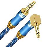 Cable Jack Macho Macho EMK Cable Jack 3.5mm 90 Grado Diseño Cable Auxiliar Jack Estéreo para Tablets,Auricular, Altavoz,Audio de Coche,iPod,TV,MP3/4,PC,Telefóno 2.4M
