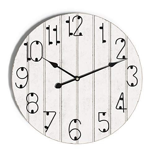 Barnyard Designs Rustic Farmhouse Wall Clock for Living Room or Kitchen Decor, Large 18-inch Round Wooden Clock, Non-Ticking Silent Movement Wall Clock, Battery Operated, White