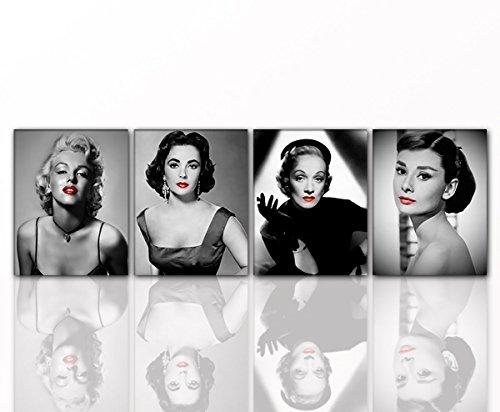 Wandbild DIVEN 4x 40x50cm Rote Lippen auf Leinwand und Holzkeilrahmen - Marilyn Monroe, Audrey Hepburn, Marlene Dietrich, Liz Taylor - Beste Qualität, handgefertigt in Deutschland! je 40x50cm
