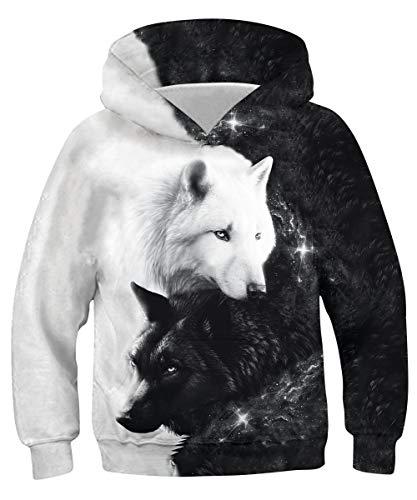 RAISEVERN Jungen Mädchen 3D Hoodie Unisex All-Over Printed Lightweight Pullover Weihnachten Kapuzenpullover S-XXL 3-10T