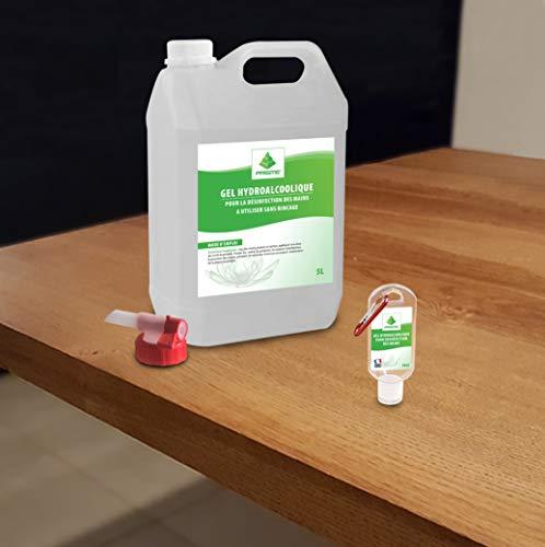 Gel Hydro-Alcoolique – Bidon de 5L avec bouchon-robinet verseur + Flacon 50ml offert