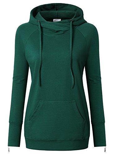 Bulotus Cotton Hoodies, Juniors Fashion Hoodies Long Sleeve Sweatshirt With String Dark Green, XL