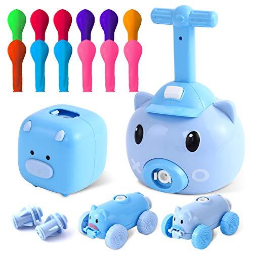 Ulikey Ballon Auto Spielzeug Kinder, Balloon Powered Launch Car, Balloon Launcher Toy, Wissenschaftliches Trägheitsspielzeug Inflatable Pump Balloon Schwein STEM Lernspielzeug Kindergeschenke (Blau)