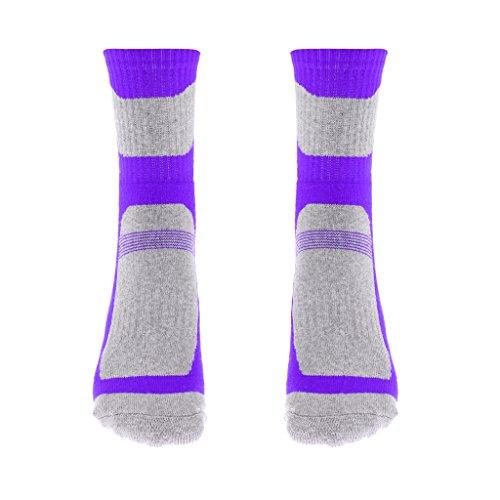 Sharplace Anti-dérapant Chaussettes en Coton Chaussons Vêtement Hiver Accessoire De Randonée - Violet pour Les Femmes, Taille Unique