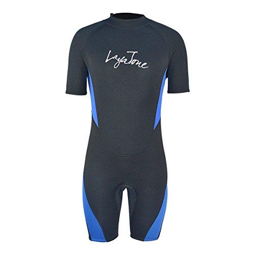 LayaTone Wetsuits Shorty Men Women 3mm Neoprene Suits Adults Scuba Diving Surfing Snorkeling Suits Canoeing Kayaking Suits One Piece Swimsuit Water Sports Wet Suit Men (Blue,3XL)