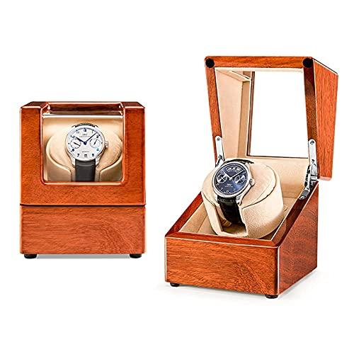 FACAZ Enrollador de Reloj automático único con Motor silencioso Bastante Exclusivo en Cuero de Franela Almohadas de Reloj tridimensionales en Carcasa de Madera Diseño antimagnético Beige