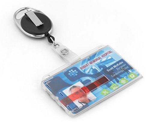 BE-HOLD Ausweishülle aus Hartplastik für 1 bis 2 Karten und Ausweis JoJo mit reißfester Schnur, Karabiner und Gürtelclip zur Befestigung