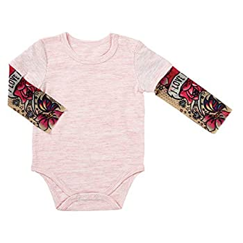 Stephan Baby Snapshirt-Style Diaper Cover with Tattoo Sleeves Pink 6-12 Months