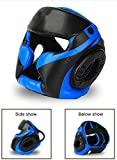 ZSEFV Head Protective Gear Professional Boxing Headguard, Muay Thai Sparring Fighting Helmet for Youth/Adults, Karate Kick Brace Headgear (Color : Blue, Size : XL)