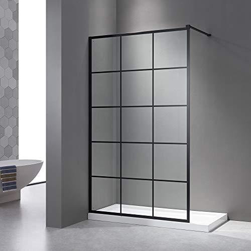 Duschwand 120x200cm, Schwarz Seitenwand,Walk in Dusche, 8mm ESG-Sicherheitsglas,Nano Glas, mit Edelstahlstabilisator und schwarzes Wandprofil