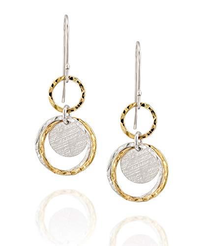 Ohrringe aus 925Sterling-Silber & 14kt Gold gefüllt (zweifarbig), verschiedene Kreisformen
