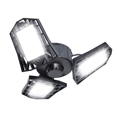 lbye LED Garage Light, 60W Deformable Garage Lighting, 6500LM Adjustable Multi-Position LED Garage Ceiling Lamps, for Garage, Workshop, Warehouse, Basement