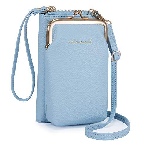 LOVEVOOK Funda para teléfono móvil con monedero para mujer, bolso bandolera de piel cruzada con correa, bolso de hombro para teléfono móvil de menos de 6,5 pulgadas, color Azul, talla Small
