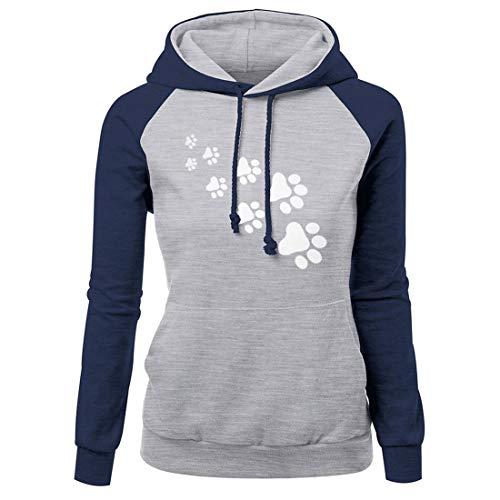 Hoodie Damen Pullover Damen Casual Modisches Langarm-Patchwork-Damen-Sweatshirt Winter Warmer Und Bequemer Damen Pullover Mit Taschen E-Blue S