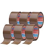 tesapack 64014 en Paquet de 6 - Ruban Adhésif à déroulement silencieux pour Emballage des Colis et des Boîtes d'Expédition - Marron - 6 Rouleaux de 66 m