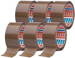 tesaPack 64014 in verpakking van 6 - geluidsarm pakketplakband voor het verpakken van pakketten en verzenddozen - bruin...