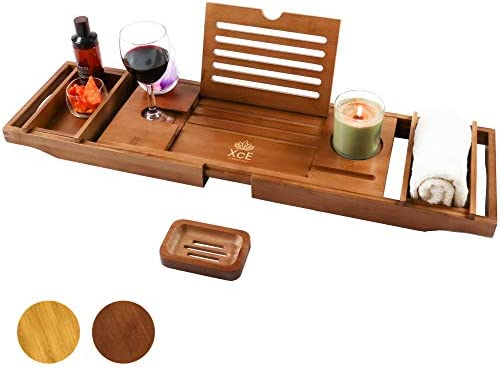 XcE Bathtub Caddy Tray Brown Bamboo Wood Bath Tray and Bath Caddy for a Home Spa Experience product image