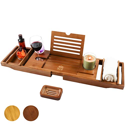 XcE Bathtub Caddy Tray (Brown)- Bamboo Wood Bath Tray and Bath Caddy for a Home Spa Experience