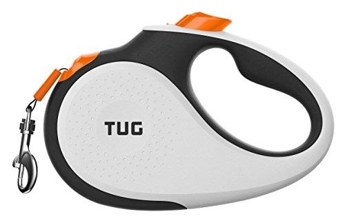 TUG 360° Tangle-Free, Heavy Duty Retractable Dog Leash with Anti-Slip Handle; 16 ft Strong Nylon Tape/Ribbon; One-Handed Brake, Pause, Lock (Medium, White/Orange)