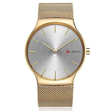 XKC-watches Herrenuhren, Curren Herrn Sportuhr Modeuhr Armbanduhr Einzigartige Kreative Uhr Armbanduhren für Den Alltag Uhr Holz Quartz Edelstahl BandCool Bequem (Farbe : Gold)