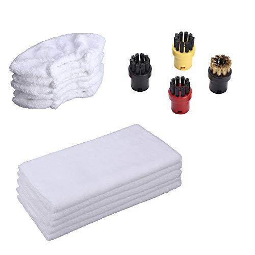 EMEXIN Zubehörset 4 Rundbürsten Baumwollbezüge Baumwolltücher für Universal für Kärcher SC1 SC2 SC3 Dampfreiniger (14)
