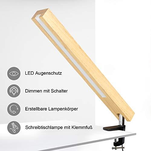 ZMH Holz Schreibtischlampe mit Klemmfuß 350° flexibel Schwenkarm Arbeitsleuchte 6 W 50 CM Lange Tischlampe 3 Farbtemperaturen 6 Helligkeit Schalter dimmbar LED Schreibtischlampe mit Klemme