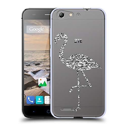 Head Case Designs Offizielle PLdesign Silber Funkelnde Flamingos Soft Gel Huelle kompatibel mit ZTE Blade V6 / D6