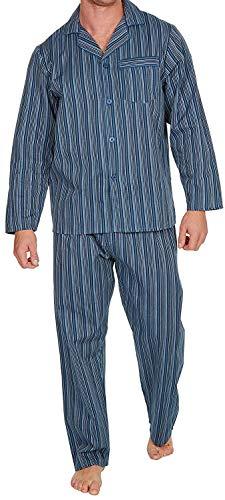 Best Deals Direct Herren schlicht Baumwoll-Polyester Pyjama Set Traditionell klassischer Schnitt - Marine Streifen, X-Large