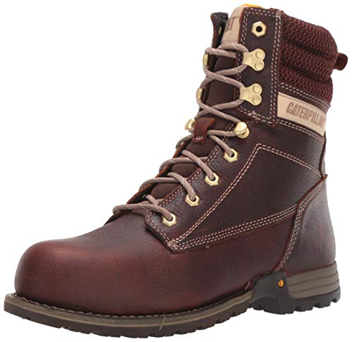 "Caterpillar Women's Clover 8"" Steel Toe Industrial Boot Tawny 9 M US"
