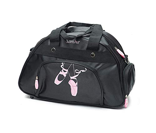 Bolsa de deporte con compartimento para zapatos para niñas, de ballet, danza y gimnasio, color negro