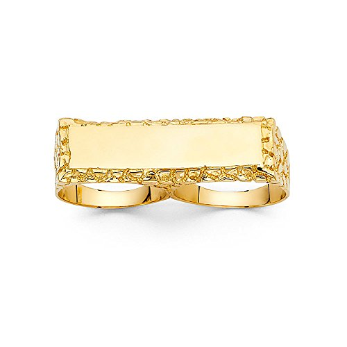 ZenJewels Solid 14k Yellow Gold Mens Two Finger Nugget Ring Band Diamond Cut Textured Genuine 12MM Size 8