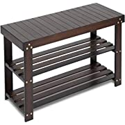 #LightningDeal Bamboo Shoe Rack Bench, 3-Tier Sturdy Shoe Organizer, Storage Shoe Shelf, Holds up to 220 LBS for Entryway Bedroom Living Room Balcony by Pipishell