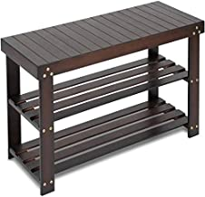 Bamboo Shoe Rack Bench, 3-Tier Sturdy Shoe Organizer, Storage Shoe Shelf, Holds up to 220 LBS for Entryway Bedroom Living Room Balcony by Pipishell