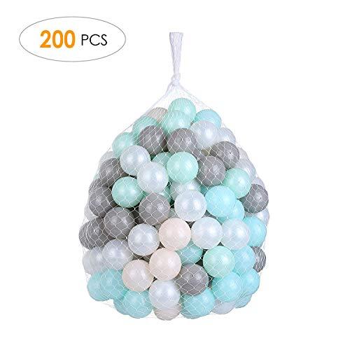 pedy 200 Bunte Bälle Bällebad, Babybälle für Spielbad, Ø6cm Spielbälle Plastikbälle für Kinder, Babys, Ballpool Bällchenbad, CE Zertifiziert, ohne gefährliche Weichmacher, 5 Farbenmix