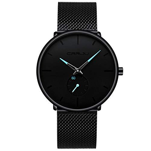 Herren Uhren Ultra Dünne Schwarze Minimalistische Quartz mit Milanese Mesh Edelstahl Und Blauer Zeiger