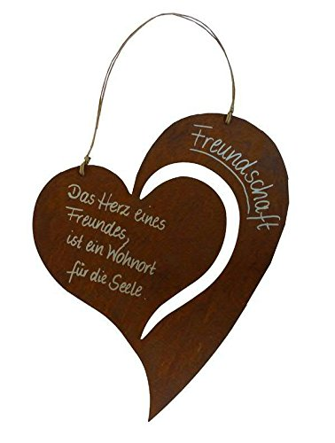 Sprücheschild in Herzform zum Hängen - Rost / Rostoptik / Edelrost - Freundschaft: 30x37cm - Wetterfest & Frostsicher - Rostschild / Metallschild / Metall Spruchtafel / Gartenschild / Wanddekoration