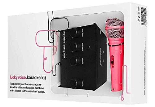 Lucky Voice Máquina de Karaoke: aparato de karaoke para el hogar con micrófono. Ideal para adultos, niños y familias. Apto para Mac, PC, iOS y Android con biblioteca de más de 9000 canciones - Micrófono rosa